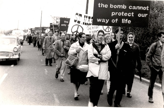 Protesters on an Aldermaston March, c1960s. Credit: LSE Library
