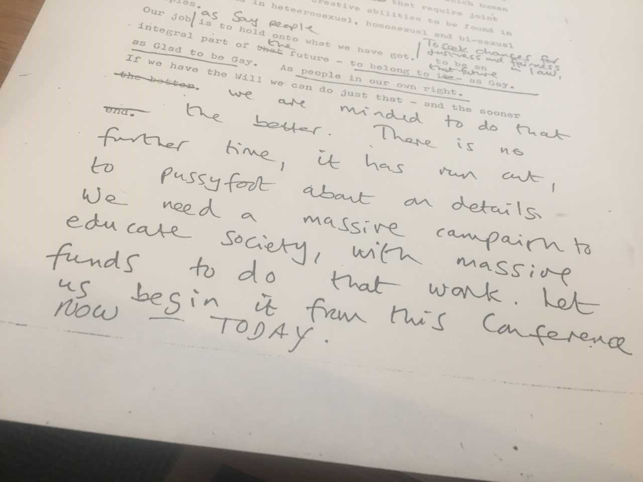 Maureen's notes on speech delivered to Campaign for Homosexual Equality Conference August 1978. Credit LSE Library