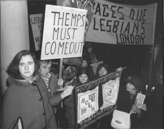 Maureen protesting with Gay Defence Committee December 1977. Credit Getty Images